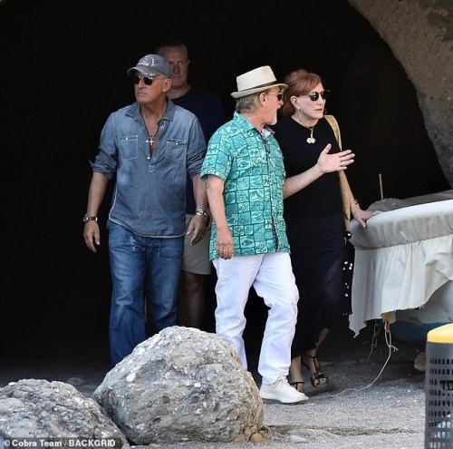 Style: The director, 72, and the rocker, 70, whiled away the afternoon with an alfresco lunch, joined by their spouses Kate Capshaw, 65, and Patti Scialfa (above), 66