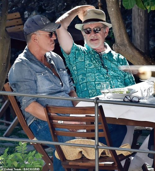 Icons:Steven Spielberg and Bruce Springsteen enjoyed another idyllic day in Portofino, Italy with their wives on Thursday