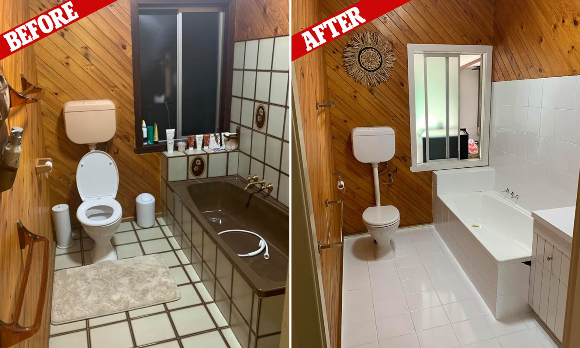 Woman Transforms Brown Bathroom With Two Tubs Of White Paint Daily Mail Online