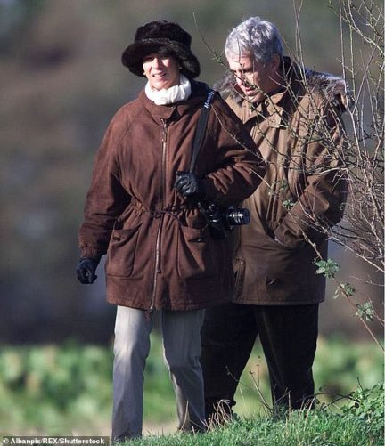 Ghislaine Maxwell and Jeffrey Epstein are seen on a pheasant ahoot with Prince Andrew in Sandringham, Norfolk, Britain in December 2000