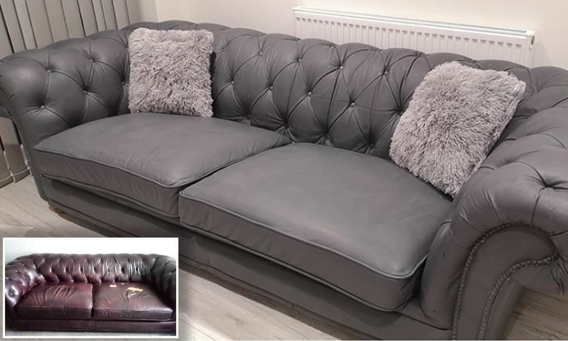 Woman Transforms Her Battered Leather Sofa For Just 30 Using Grey Paint Daily Mail Online