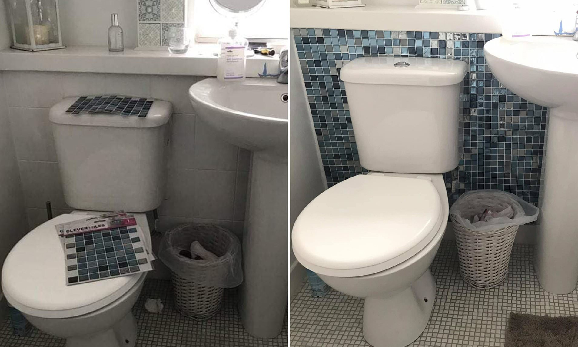 Thrifty Woman Gives Bland Bathroom A Stunning Makeover For Just 15 Using Stick On Floor Tiles Daily Mail Online