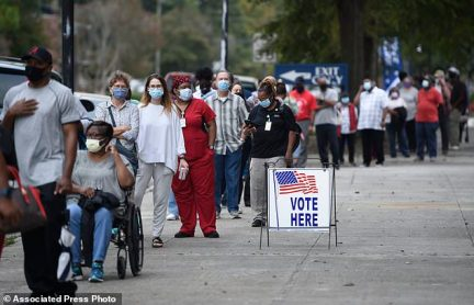 AUGUSTA, GEORGIA: Voters waited in line to cast their ballot early at the Bell Auditorium after early voting kicked off on Monday