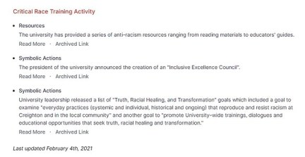 Under each school listing, it documents its 'critical race training activity'