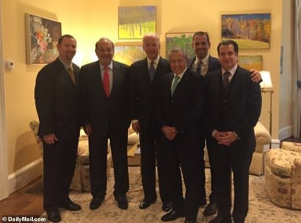 While Hunter and Cooper were working on their business plans, they managed to get the billionaires Slim, Velasco and Magnani a private 'meeting' with then-vice president Joe Biden in the VP's office. Photos on Hunter's laptop dated November 19, 2015, show the six men smiling at a meeting in Joe Biden¿s DC residence. Emails show the men also met Joe at the White House