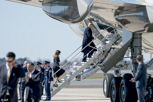 Donald Trump Rushes To Air Force One Leaving Melania