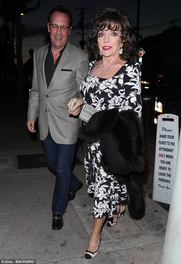 Kitchen Designer Johnny Grey Dame Joan Collins And Percy Gibson Step Out For Dinner