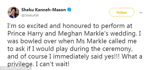 BBC Young Musician cellist plays at Harry and Meghan\u0027s royal wedding