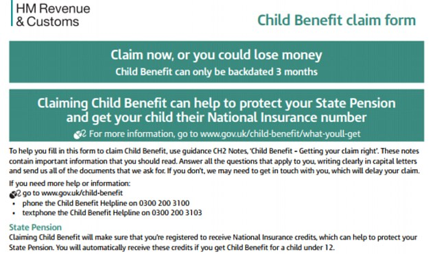 How do I fill in child benefit form so I get state pension credits