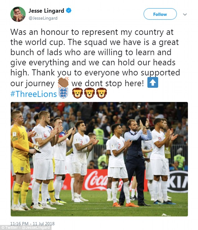 It was an honour\u0027 England players thank fans after World Cup exit