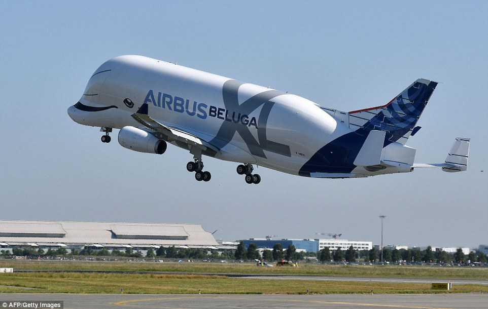 Airbus\u0027s new BelugaXL takes to the skies for its maiden flight