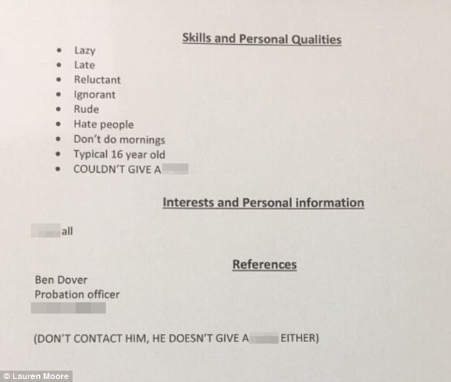 Father writes brutal résumé for his 16-year-old daughter Daily - personal qualities for resume