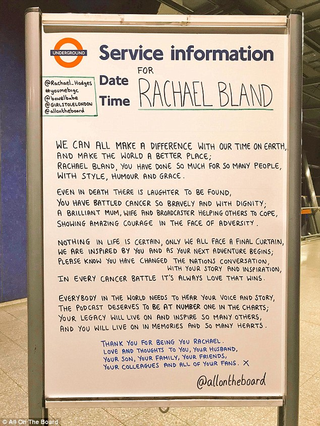 Anonymous poets pay inspirational Tube tribute to BBC\u0027s Rachael