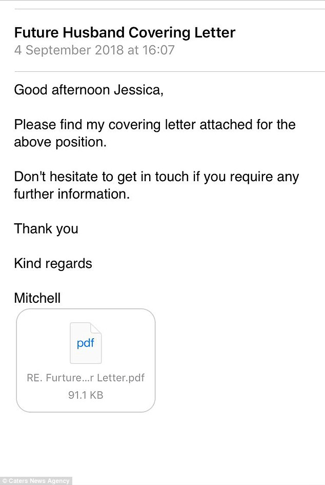 Man sends Tinder match cover letter with why he\u0027s \u0027husband material