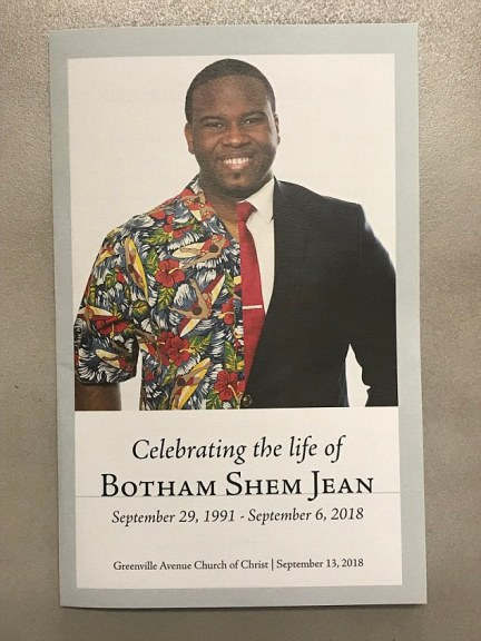 The funeral for Botham Jean was held today at the Greenville Avenue Church of Christ. Officials believe Guyger was confronted by Jean, who pulled her gun on him and fired - but the explanation for her entering his apartment is fill of holes
