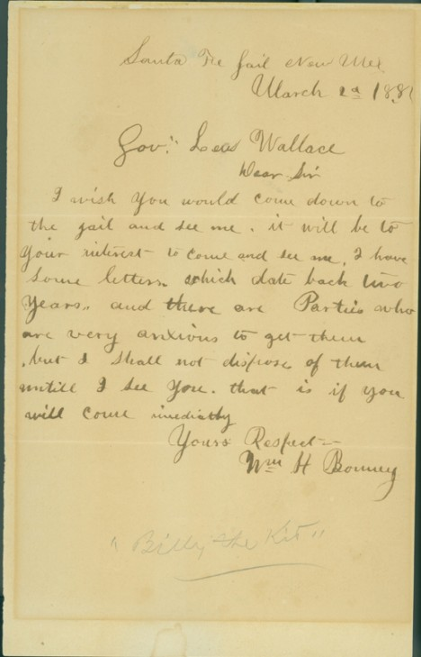 Billy the Kid Letters January 1, 1881 To governor Lew Wallace who - pharmacy letter