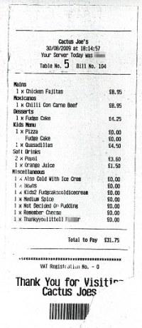 Family horrified after getting restaurant bill describing ...