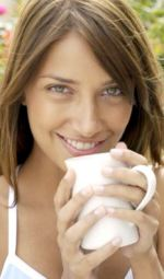 Of Girl Drinking Coffee To Wake Up