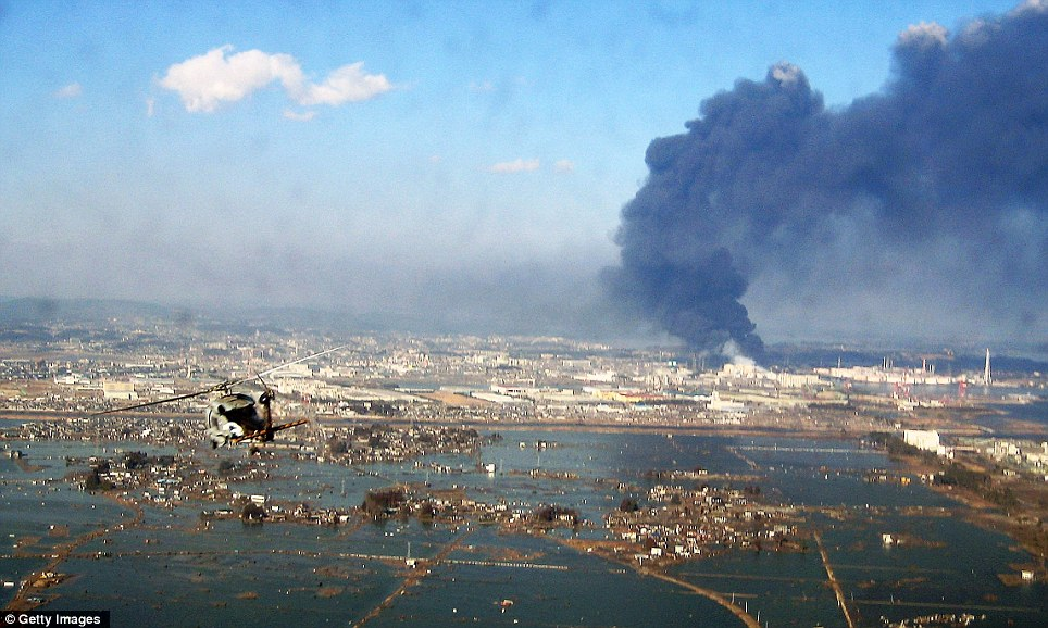 Bird's eye view: A photograph of the devastation in Sendai taken from a U.S. military helicopter