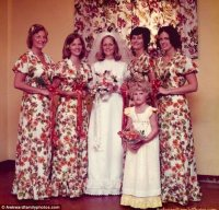 The Quirky Globe: Bridesmaid dresses match the curtains ...
