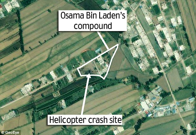 New satellite image shows where the U.S. helicopter crashed during the Bin Laden raid