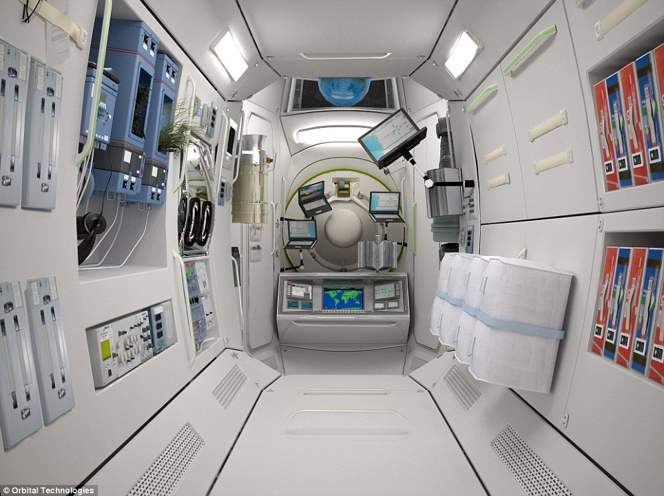 Space age: The rooms will also act as an emergency bothole for astronauts at the manned space station