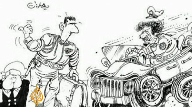 This cartoon, published earlier in the week, shows Assad attempting to hitch a lift from Colonel Gaddafi, the tyrannical Libyan leader