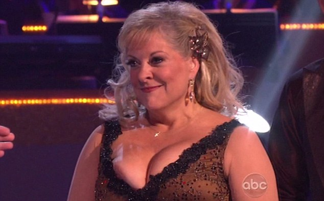 Slipping out? Nancy seemingly experienced a wardrobe malfunction following her quickstep on last night's show