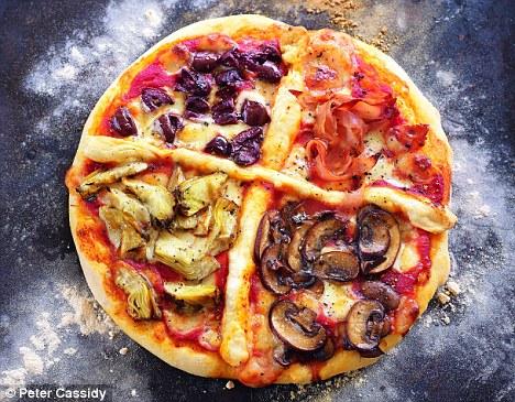 Recipe Four seasons pizza topped with ham, artichokes, mushrooms