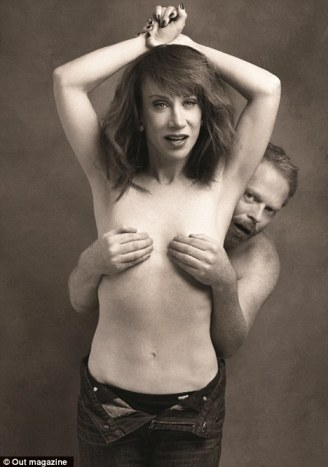 Naked ambition: Kathy Griffin and Jesse Tyler Ferguson pose for Out magazine's Out 100 issue