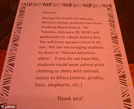 Letter sent to elementary school parents suggested students wear - letters to the parents