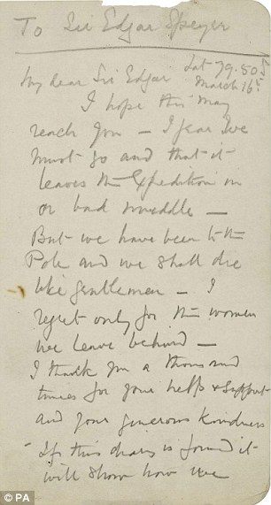 Farewell letter penned by Captain Scott in his final hours and was