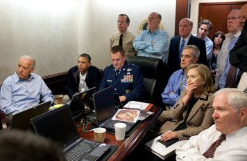Tense: Mr Obama gathered with senior aides to watch a live stream of the mission from Pakistan