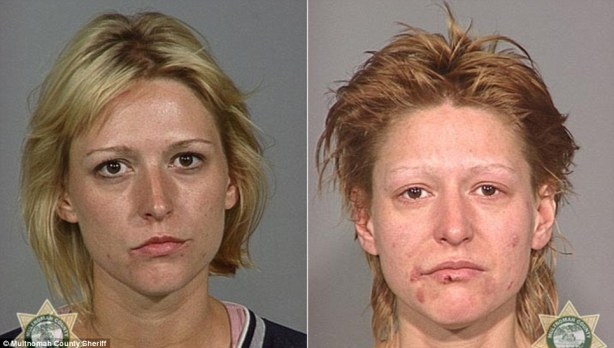 Shocking: New pictures released by an American police force show the horrific effects of methamphetamine use over a number of years