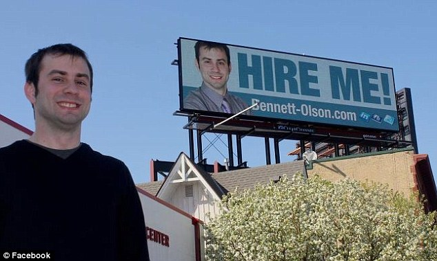 job hunter puts cv on billboard