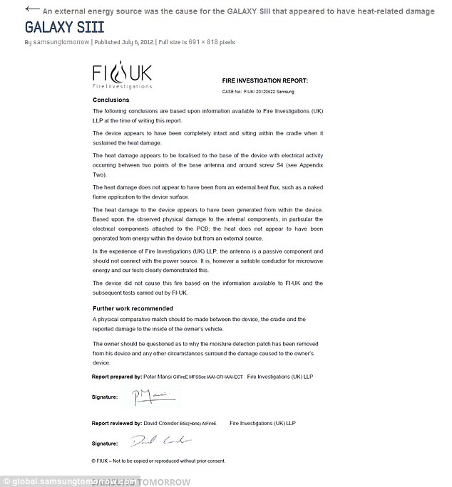 Exploding\u0027 Samsung Galaxy S3 was deliberately placed in microwave