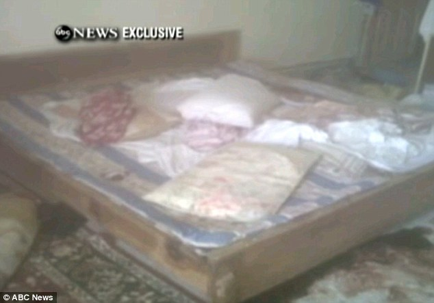 Scene: An ABC News video grab on May 2, 2011, shows the bedroom in the mansion where he was shot