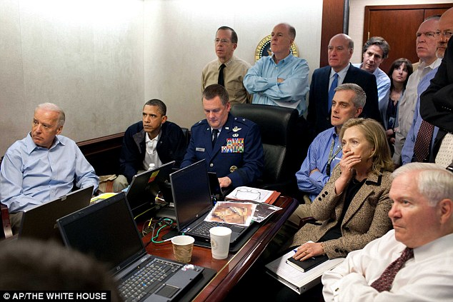 Just in: An image shows Hillary Rodham Clinton, President Obama and Vice President Joe Biden, along with with members of the national security team, as they learn of the death of bin Laden