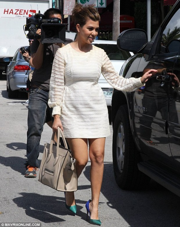 Legs on parade: Kourtney Kardashian, who is in Miami filming reality show Kourtney & Kim Take Miami with her sister, stepped out in the city on Wednesday for some shopping
