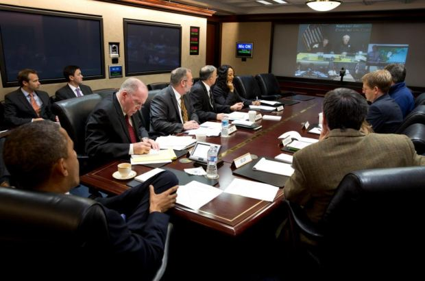 Emergency: President Barack Obama has declared a 'major disaster' in New York and Long Island. Pictured, he receives an update on the ongoing response to Hurricane Sandy, in the Situation Room of the White House, Participating via teleconference