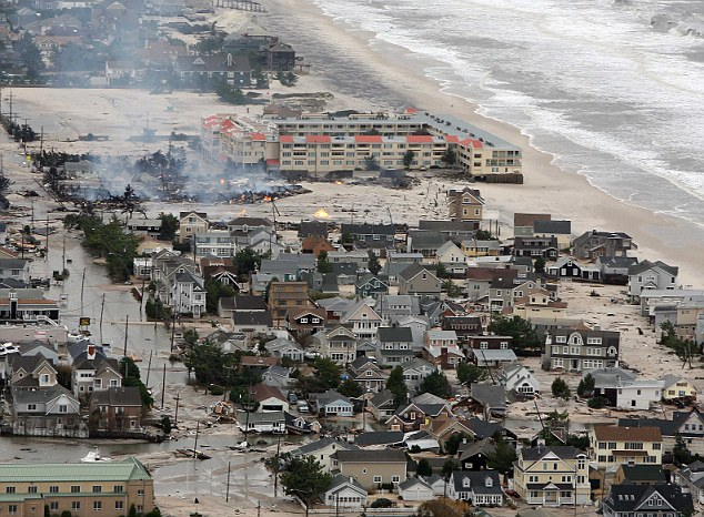 Fire: Some buildings on Seaside Heights were set ablaze as a result of the Hurricane