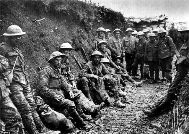Reality: Troops are seen in a trench in France during the First World War