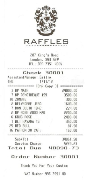 The £40,000 receipt from the private members club Raffles - which included a £5000 tip