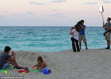 Capturing on camera: The reality TV cameras were seen filming the family for their show Kourtney and Kim Take Miami