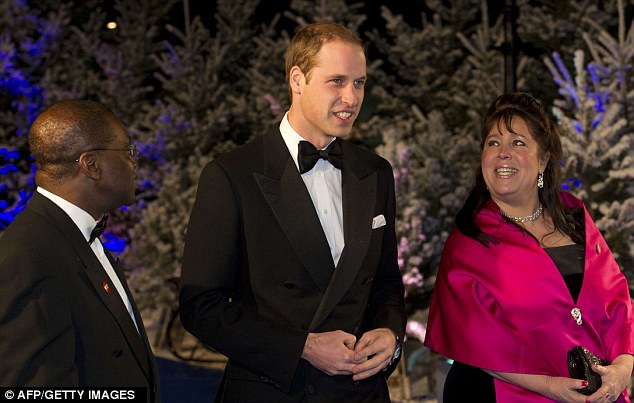 Prince William, accompanied by Centrepoint's chief executive Seyi Obakin and trustee Danielle Alexandre, arrives at the gala