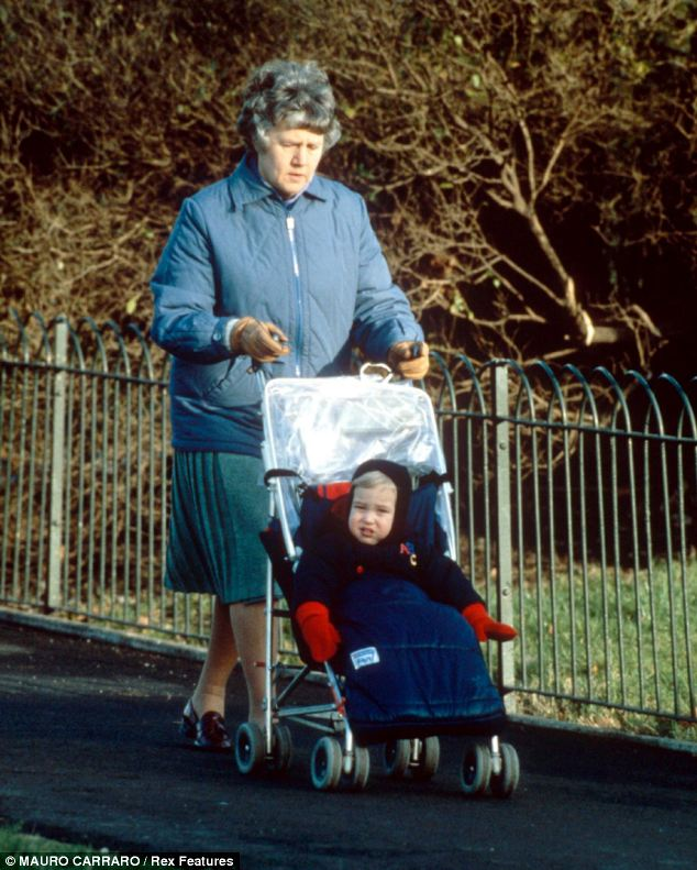 Unusual: Prince William in his pushchair with his nanny Olga Powell in Regent's Park in London in 1984. Despite growing up with a full-time nanny, William and his wife Kate are not to employ full-time help