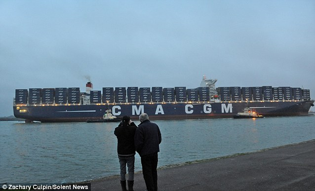 Marco Polo Hamburg World's Largest Container Ship At 396m Long Arrives In