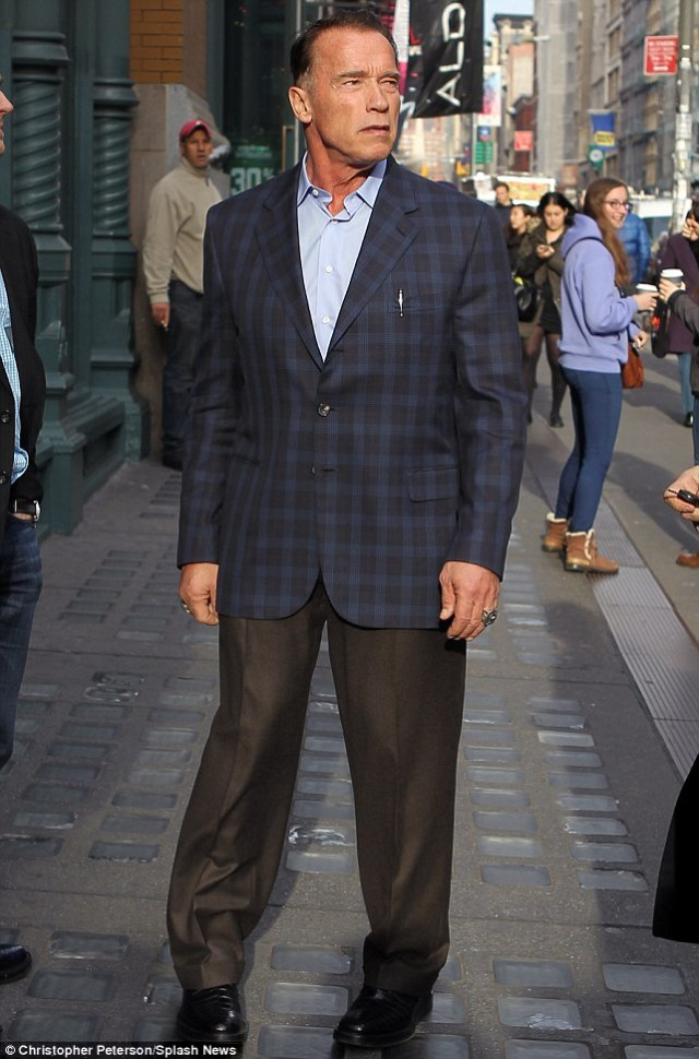 Green man: Arnie was in New York to receive an award from the Secretary General of the UN for his environmental work