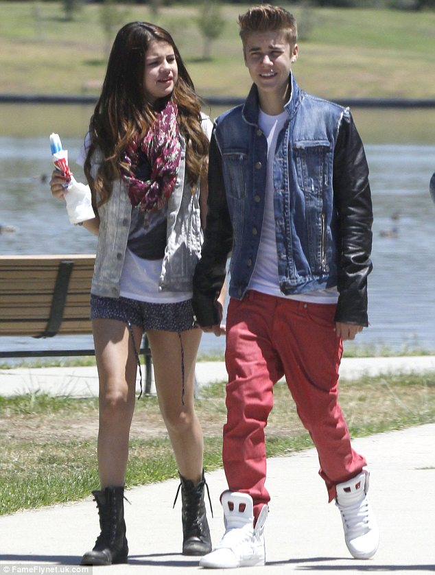 On-again off-again: Justin and Selena, pictured in June, reportedly recently split again after rekindling their romance but it seems all is well between the couple now