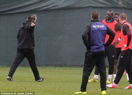 Bellow: Mancini shouted at his compatriot